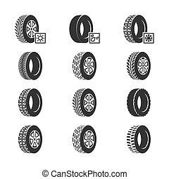 Car tires, wheel disk auto service vector icons