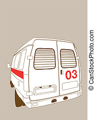 car to ambulance on brown  background, vector illustration