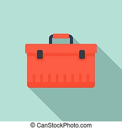 Car tool box icon, flat style