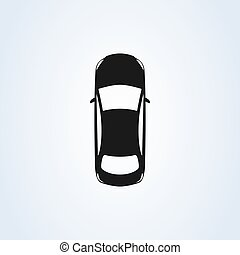 Car top icon view. Vector isolated car illustration