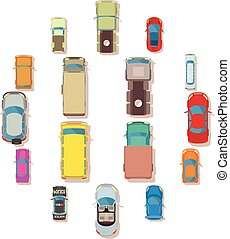 Car top view above over icons set, flat style - Car top view...