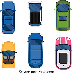 Car top view vector set. - Vector cars icon set. From above...
