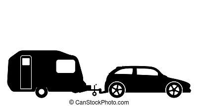 A silhouette of a hatchback car towing a caravan