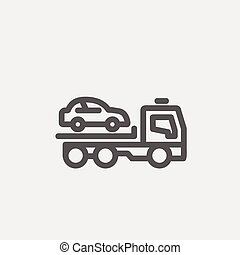 Car Towing Truck thin line icon - Car towing truck icon thin...