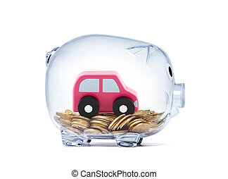 Car toy on coins inside transparent piggy bank with clipping path Car toy on coins inside transparent piggy bank with clipping path
