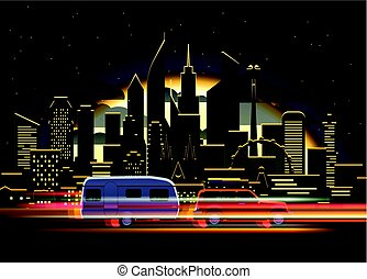 Car traces in modern city with night illumination