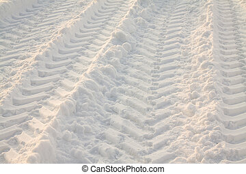 Car traces - Traces from the big car, left on snow in a...