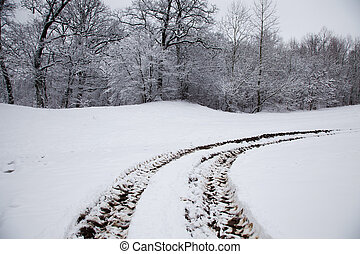 car traces - traces from the car, remained on snow. traces ...