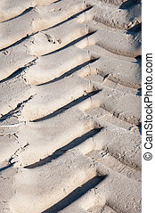 Car track in sand