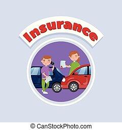 Car traffic accident, auto insurance concept vector Illustration, cartoon style
