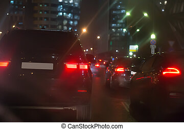 Car Traffic At Night in the City