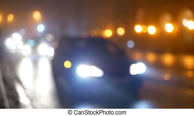 Car traffic fog night