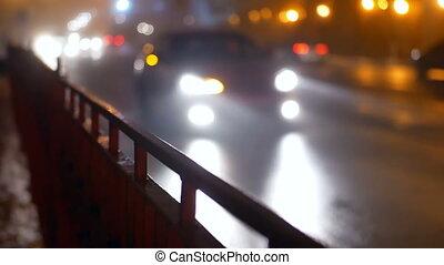 Car traffic fog night - Driver car in rain at night, road,...