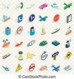 Car traffic icons set, isometric style