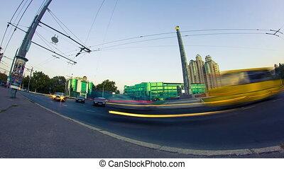 Car traffic in evening city timelapse, 4K