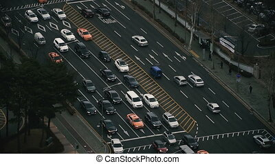 Car traffic in the city of Seoul. South Korea