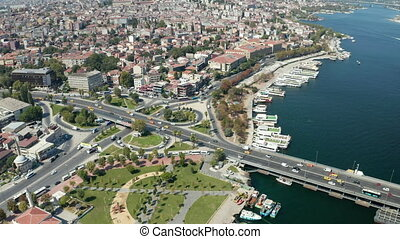 Car Traffic Intersection in Istanbul on Bosphorus, Scenic Aerial View