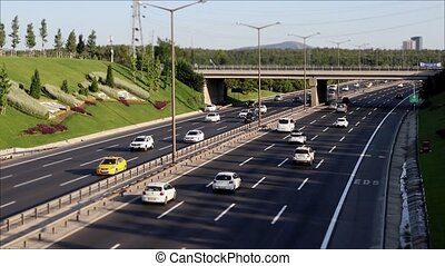 Car traffic jam on the highway 1920x1080 timelapse
