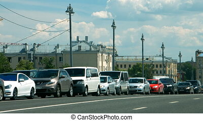 Car traffic jam on the highway of Moscow