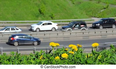 Car traffic jam on the highway, road, traffic in the city, rush hour
