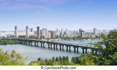 Car traffic on bridge timelapse with zoom