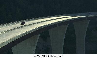 Car traffic on high bridge 01