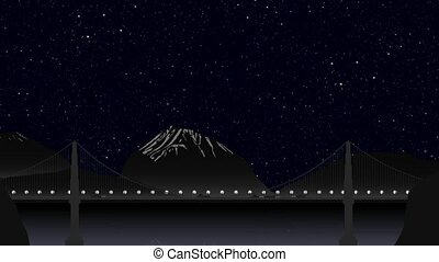 Car traffic on the bridge at night on the background of a mountainous landscape, clear skies with stars and the moon. Timelapse