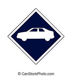 car traffic sign icon, flat design