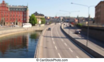 Busy highway, rush hour city freeway heavy traffic jam