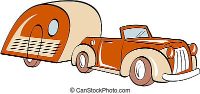 Car, trailer, RV camper or camping clip art in retro or vintage 1940s or 1950s cartoon line art style