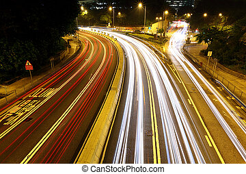 car trails in city