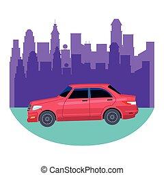 car transport sedan vehicle cartoon