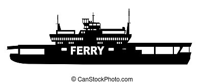 Silhouette of a typical car transporter ferry on a white background