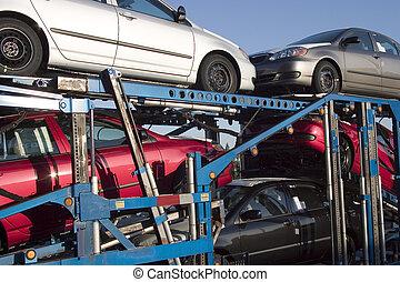 Car Transporter - New cars loaded onto Semi Truck...