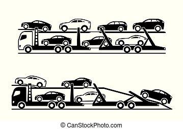 Car transporter trucks - vector illustration