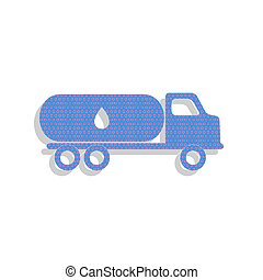 Car transports Oil sign. Vector. Neon blue icon with cyclamen po