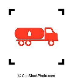 Car transports Oil sign. Vector. Red icon inside black focus corners on white background. Isolated.