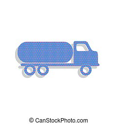 Car transports sign. Vector. Neon blue icon with cyclamen polka