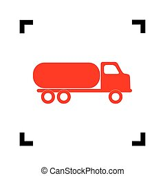 Car transports sign. Vector. Red icon inside black focus corners on white background. Isolated.