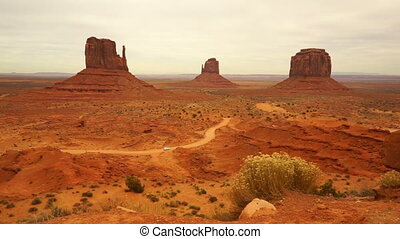 Car Travels Through Monument Valley Navajo Nation Tribal...
