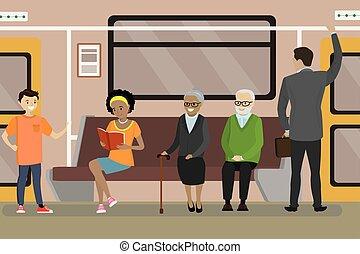 car, trem subterrâneo, metrô, interior, caricatura