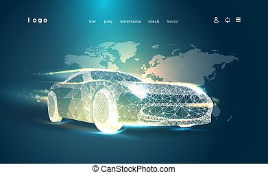 Car triangle low poly art illustration.Automotive industry advertising banner.3D automobile on map background. Polygonal space low poly with connected dots and polygon lines.Vector wireframe mesh auto