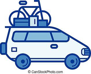 Car trip line icon.