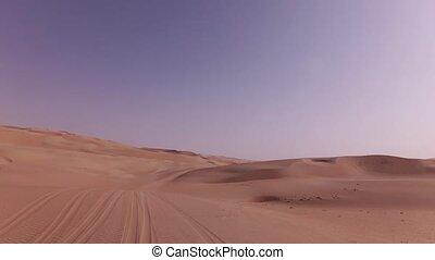Car trip on the beautiful sand dunes in Rub al Khali desert stock footage video