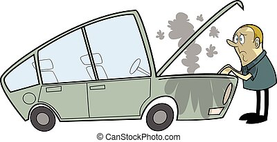 Car Trouble - This is a Cartoon Vector Illustration of a man...