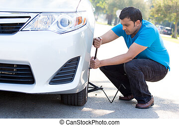 Car troubles - Closeup portrait, young man in blue shirt and...