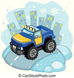 Car Truck. - A large cargo blue car with large wheels and...