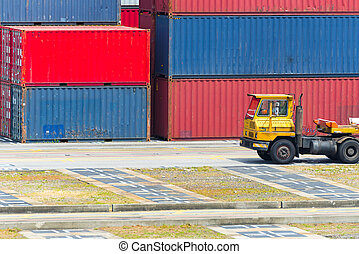 Car truck with cargo Container for transportation, logistic import export concept