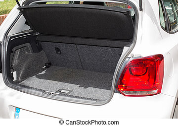 Car trunk - Trunk open and clean car to enter luggage