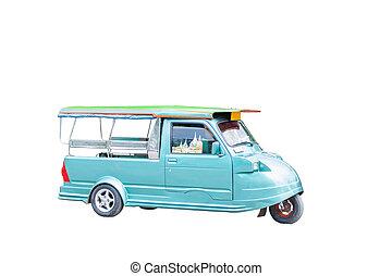 car tuktuk transportation green color  vihecle foe tourism